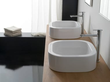Countertop square ceramic washbasin NEXT 40