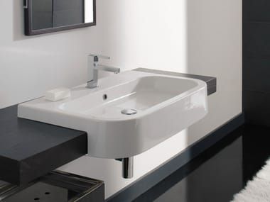 Semi-inset rectangular ceramic washbasin NEXT 80D