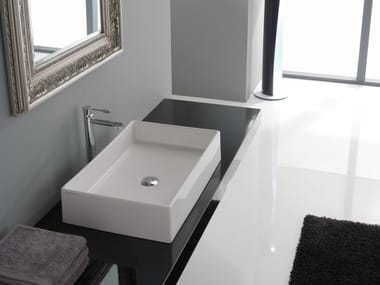 Countertop rectangular ceramic washbasin TEOREMA 60
