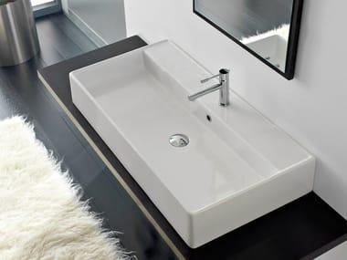 Countertop rectangular ceramic washbasin TEOREMA 100R A