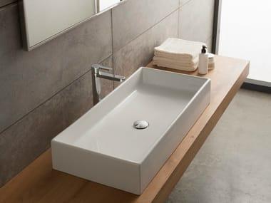 Countertop rectangular ceramic washbasin TEOREMA 80