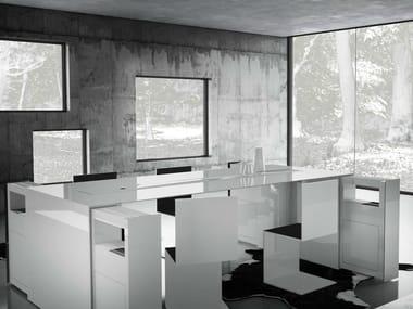 Rectangular office desk with shelves SUMMARUM