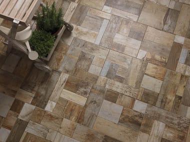 Porcelain stoneware outdoor floor tiles with wood effect COBBLEWOOD