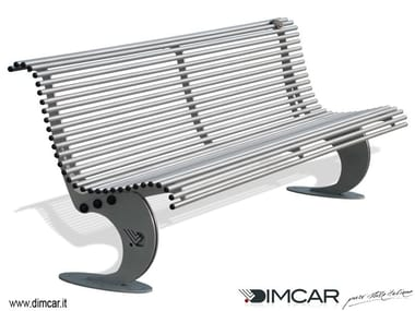 Contemporary style metal Bench with back Panchina Luxe in acciaio zincato