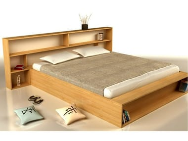 Wooden double bed with storage headboard SLIM