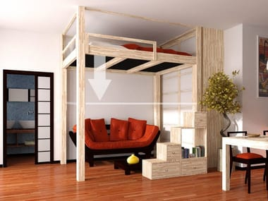 Loft wooden bed RISING