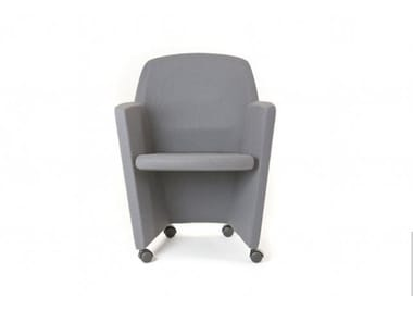 Contemporary style upholstered fabric guest chair with castors PRIMA