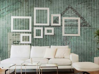 Papel de parede panorâmico com listrado TICKET