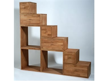 Double-sided wooden bookcase with drawers YEN | Bookcase