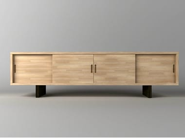 Lacquered wooden sideboard with sliding doors JACHI