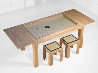 Extending rectangular wooden table ZEN | Table