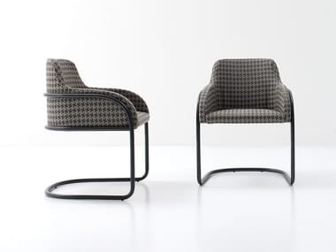 Cantilever upholstered chair with armrests STREAM