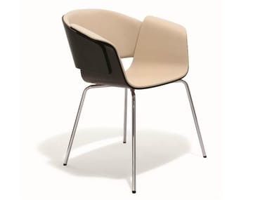 Upholstered leather reception chair RONDO | Chair