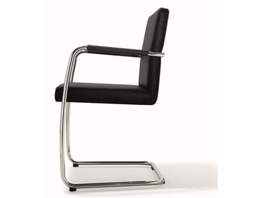 Cantilever stackable leather chair DEXTER | Leather chair