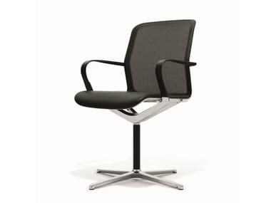 Mesh chair with 4-spoke base with armrests FILO CHAIR | Mesh chair