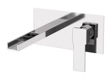 Wall-mounted washbasin mixer with plate QUBIKA CASCATA | Wall-mounted washbasin mixer