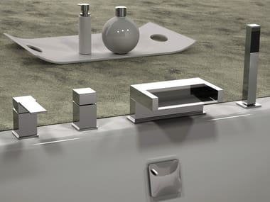 4 hole bathtub set with hand shower QUBIKA CASCATA | Bathtub set