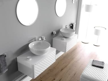 Meuble sous-vasque capitonné suspendu LOUNGE | Meuble sous-vasque capitonné