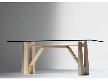 Rectangular wood and glass table PERUGINO