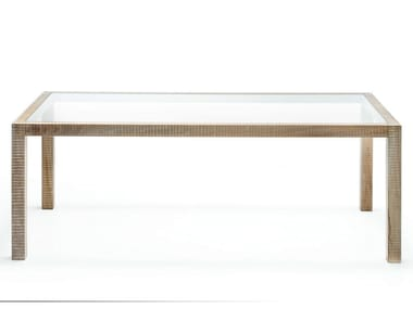 Rectangular wood and glass table PISANO
