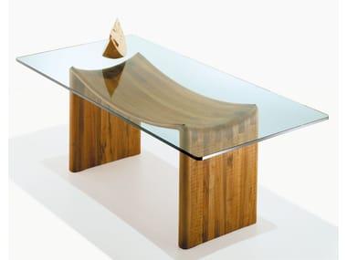 Rectangular wood and glass table VELABRO