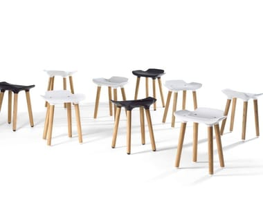 Low wooden stool PILOT STOOL