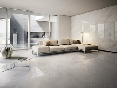 Glazed stoneware wall/floor tiles with marble effect I MARMI