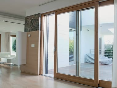 Laminated wood sliding window EXTER ALU DESIGN | Sliding window