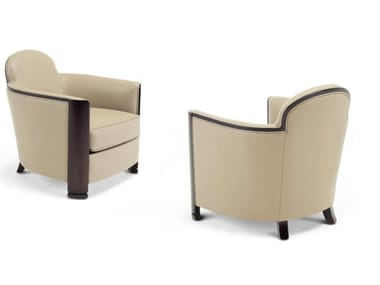 Upholstered leather armchair with armrests LOBBY | Armchair