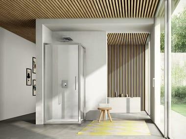 Corner shower cabin with pivot door LIKE 07