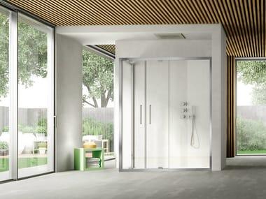 Corner shower cabin with pivot door LIKE 10