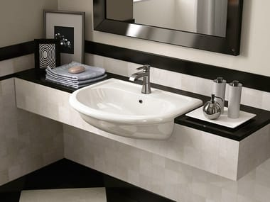 Semi-inset ceramic washbasin FIDIA | Semi-inset washbasin
