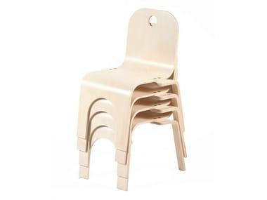Stackable birch kids chair PIPPA | Kids chair