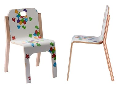 Stackable birch kids chair TOMMY | Kids chair