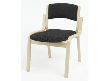 Upholstered birch reception chair MARTA