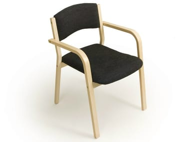 Birch reception chair with armrests MARTIN