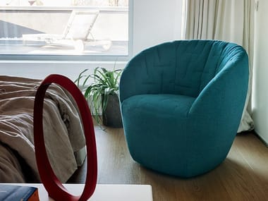 Swivel fabric easy chair EXPRESS