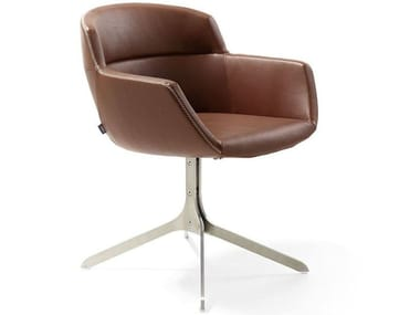 Leather chair with 4-spoke base MOOD STRIP