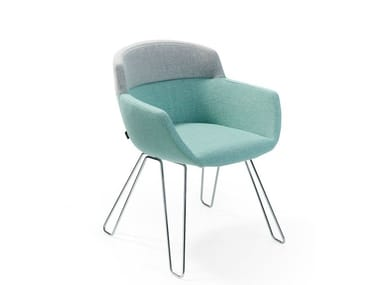 Upholstered fabric chair with armrests MOOD WIRE