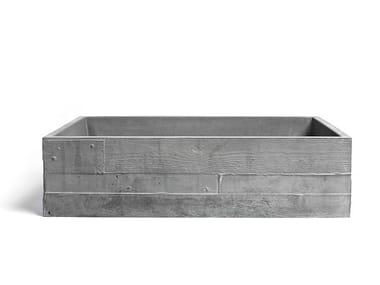 Countertop rectangular Concrete and cement-Based materials washbasin INVIVO 60