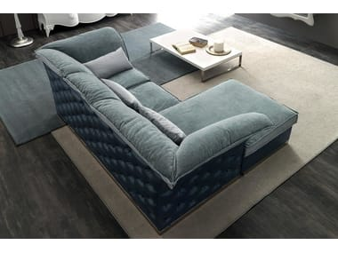 Tufted 3 seater fabric sofa with chaise longue TIAGO | Sofa with chaise longue
