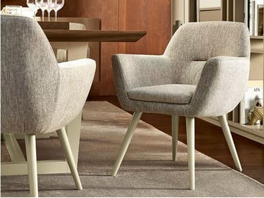 Upholstered fabric chair with armrests ROME | Chair