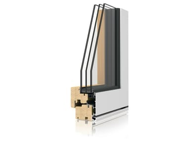 Aluminium and wood casement window UNI_ONE ZERO