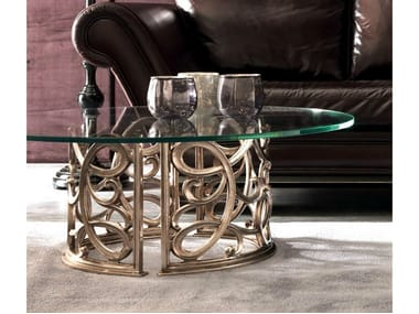 Low round glass coffee table FLORA