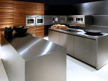 Stainless steel kitchen with island B3 | Stainless steel kitchen