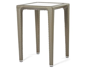 Synthetic fiber weaving high table with glass top ALTEA | High table