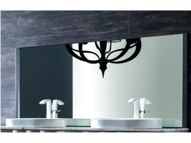 Metal mirror with integrated lighting QUADRA | Mirror