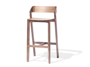 High solid wood stool with back MERANO | High stool