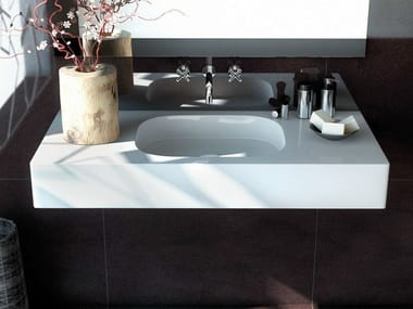Rectangular wall-mounted Silestone® washbasin EXCLUSIVE + 12