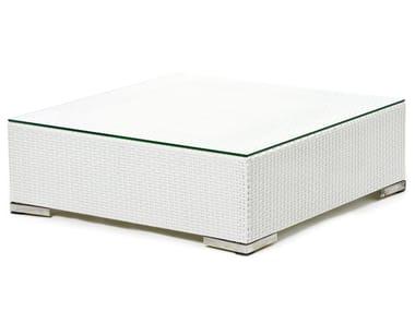 Tavolino quadrato in fibra sintetica e piano in vetro CORA | Tavolino quadrato